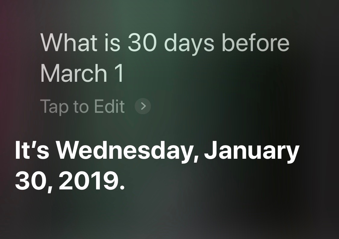 Siri days before given date