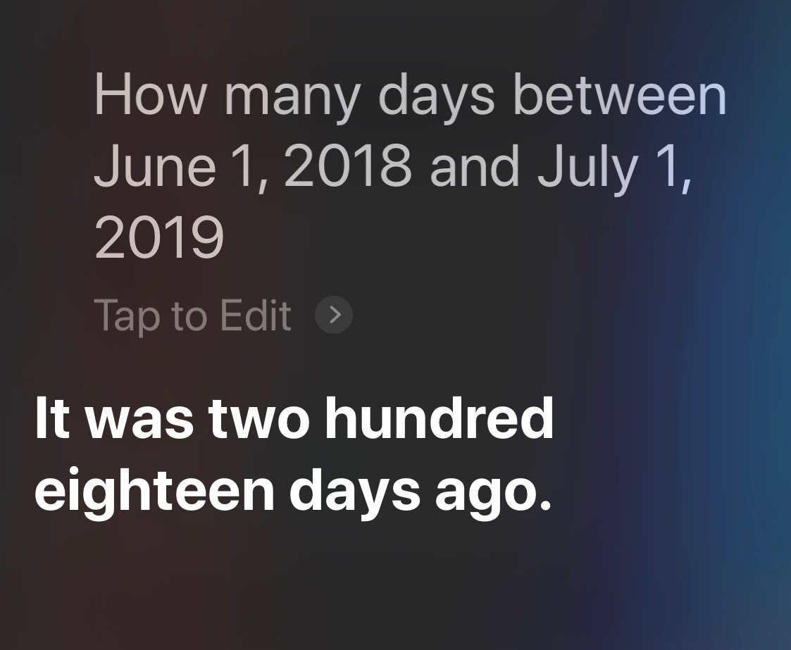 Siri days between two dates