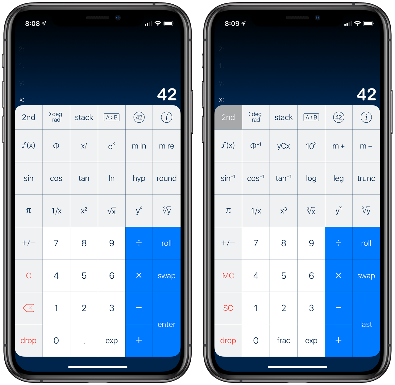 My PCalc vertical layout