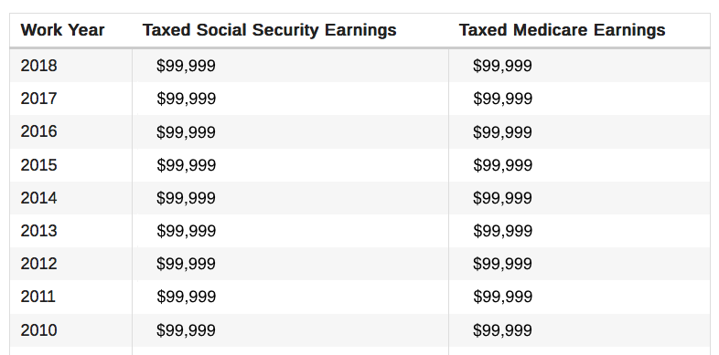 SSA earnings history