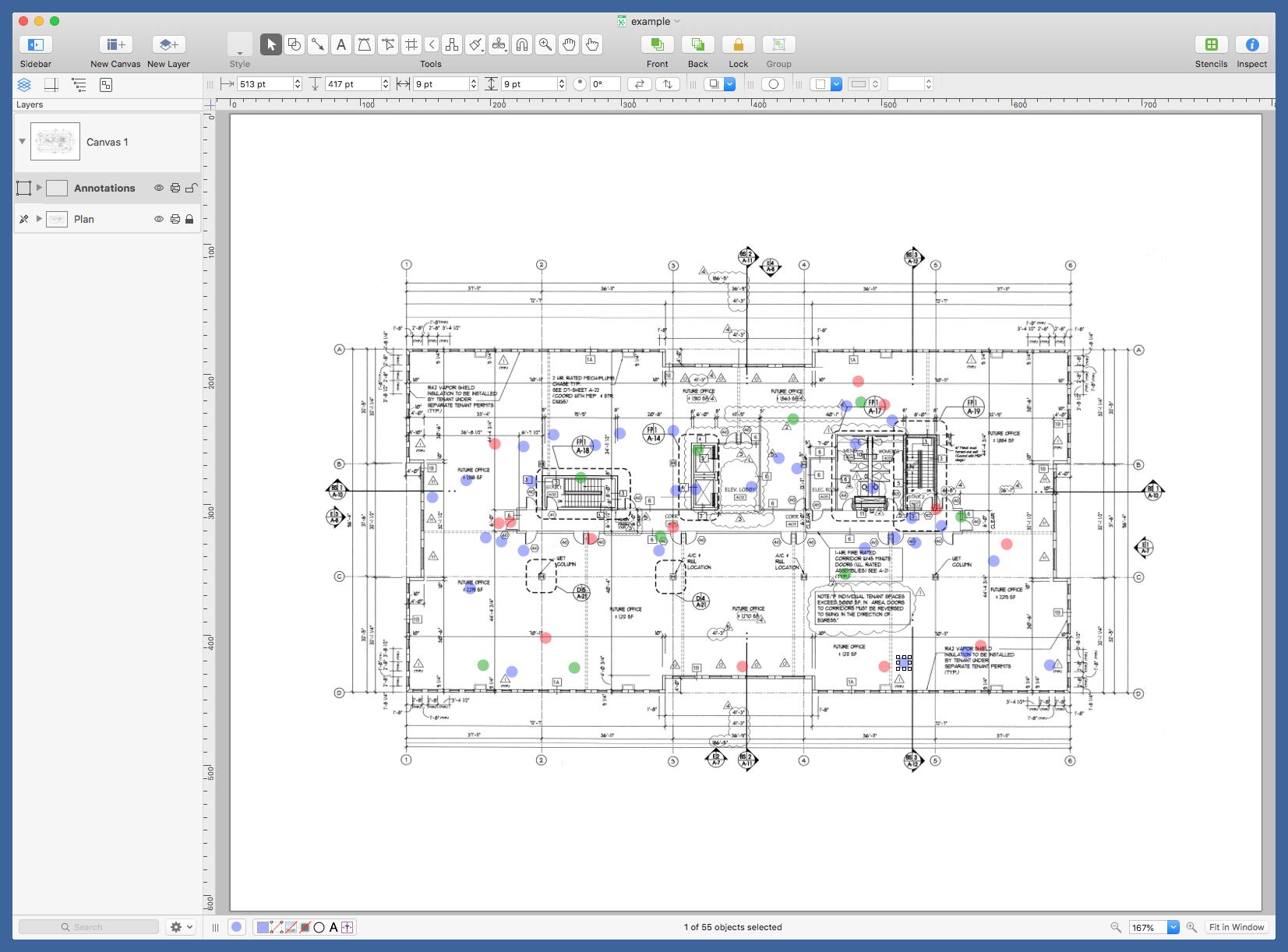 OmniGraffle annotated floor plan