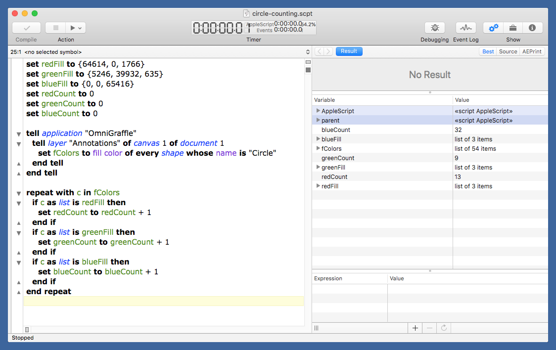 Script Debugger with results pane