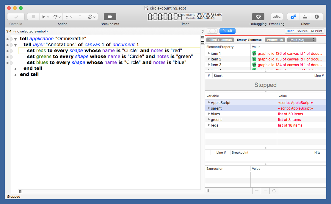 New circle counting results in Script Debugger