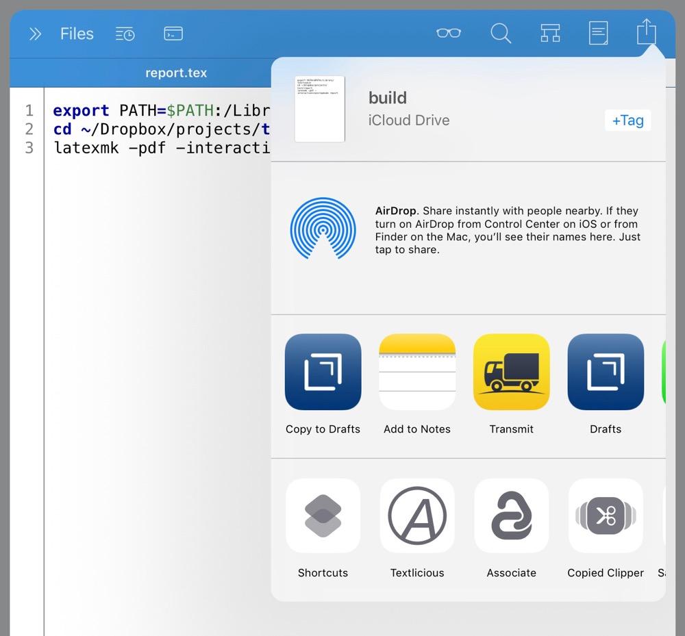 Sending build text to standard Share Sheet