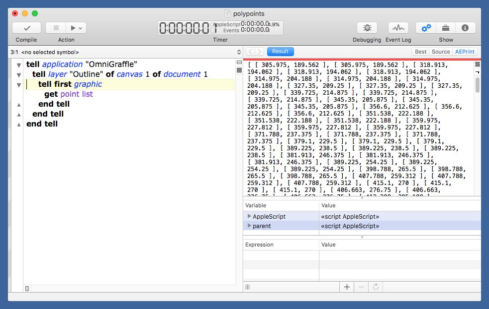 Polypoints script in Script Debugger