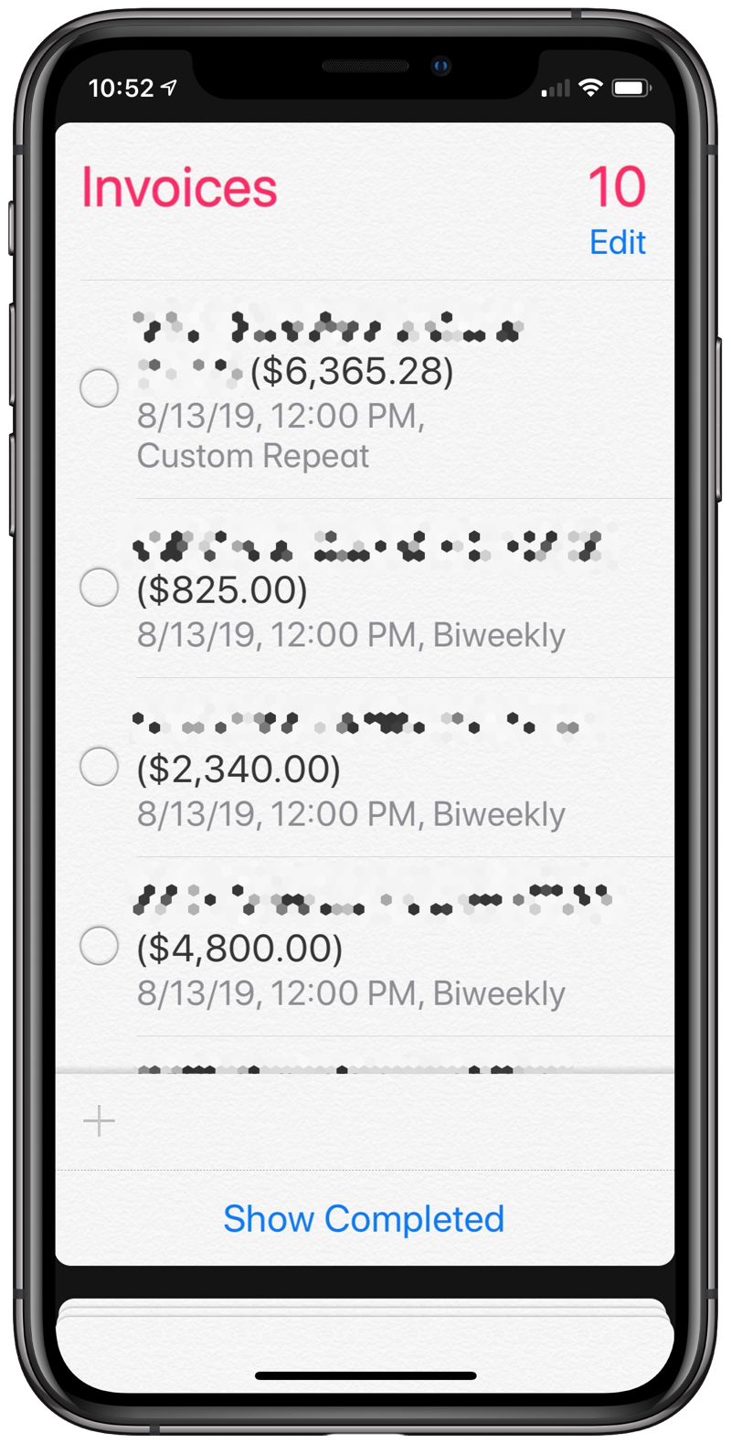 Invoice list in Reminders