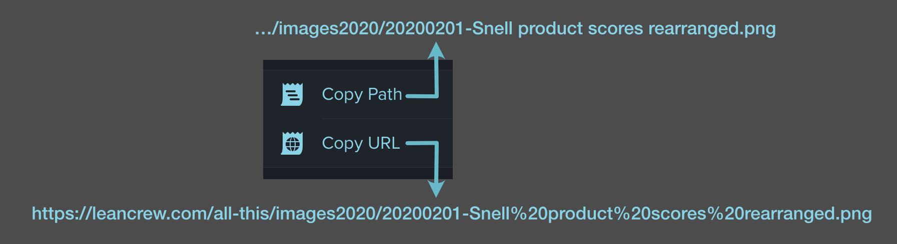 Transmit Copy Path or URL