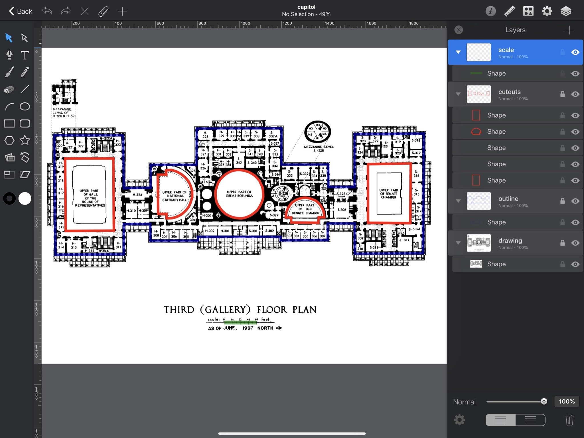 Annotating floor plan in Graphic