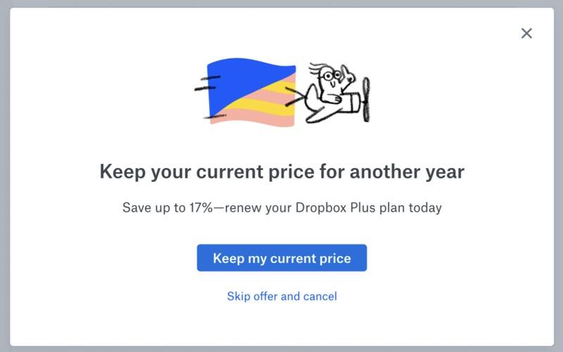 Dropbox cancellation offer