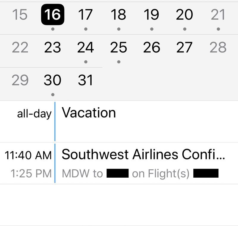 Default Southwest calendar entry