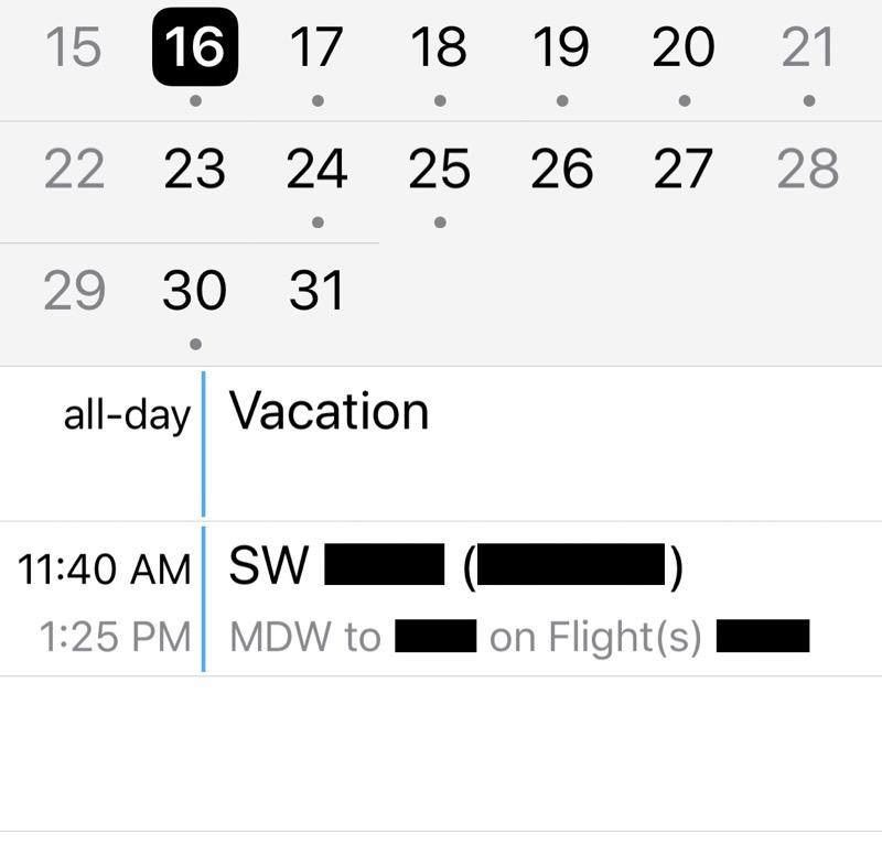 Improved Southwest calendar entry
