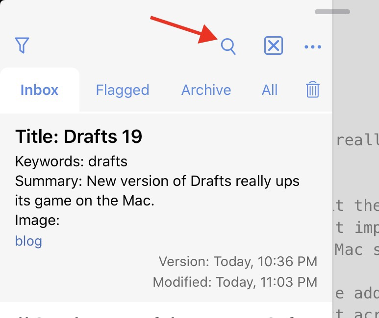 Drafts list search button