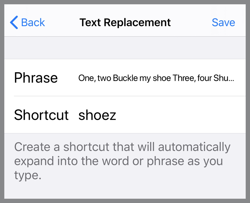Trying to define multiline text replacement on iPhone