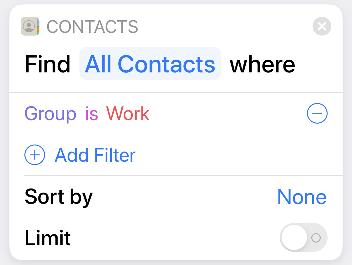 Contacts Filter