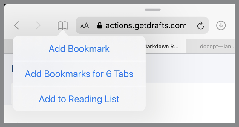 Long press on Bookmarks button