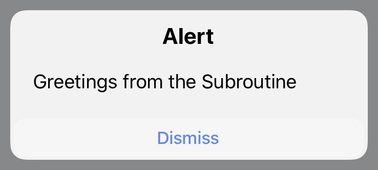 Subroutine Action alert