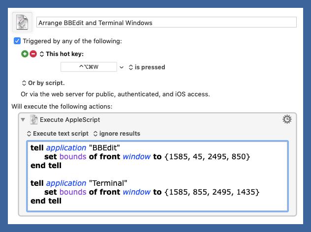 Arrange BBEdit and Terminal Windows macro