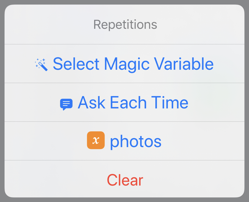 Variable repetition menu