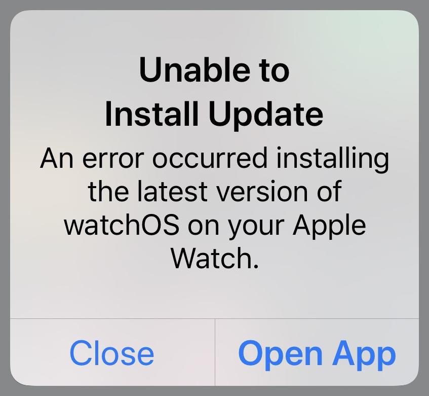 Watch update error message