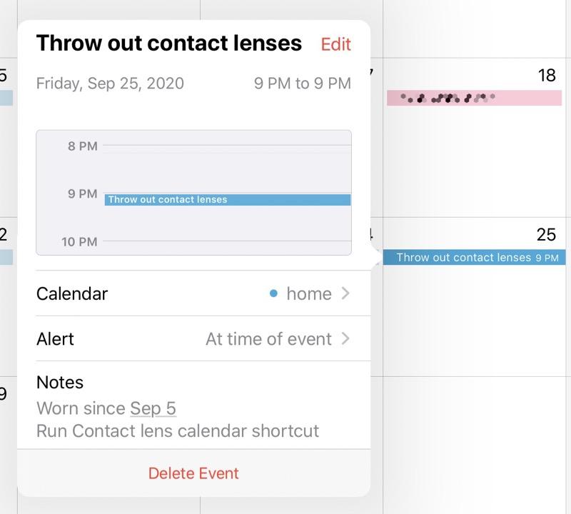 Contact lens calendar event