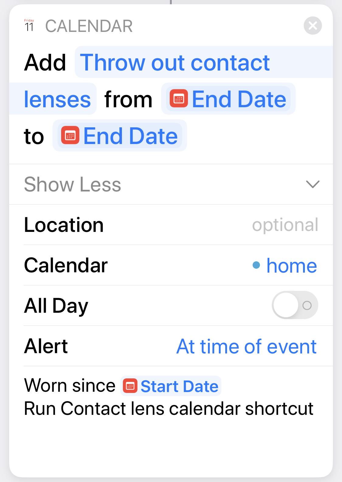 Contact Lens Calendar Step 11