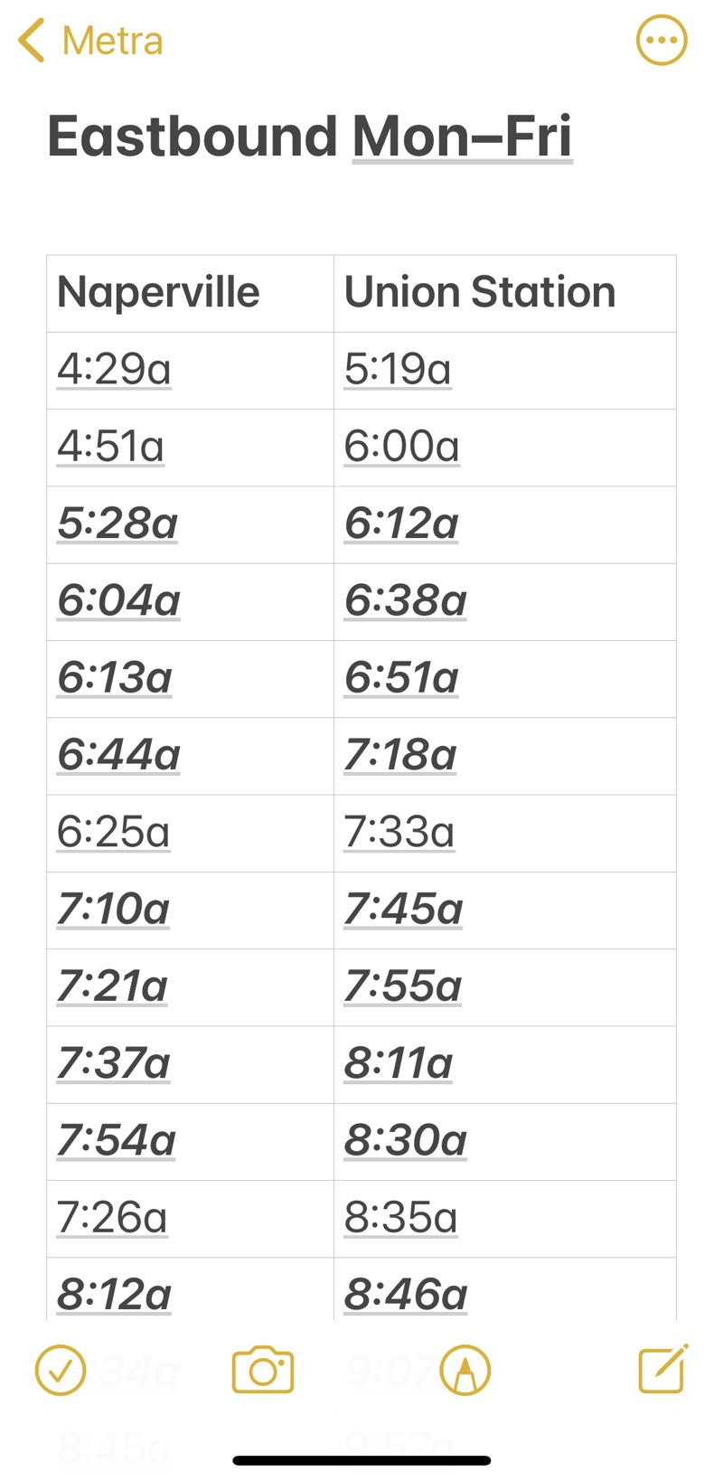 Metra eastbound schedule