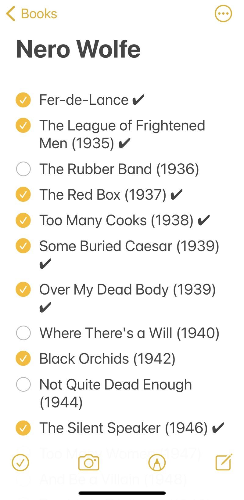 Nero Wolfe checklist