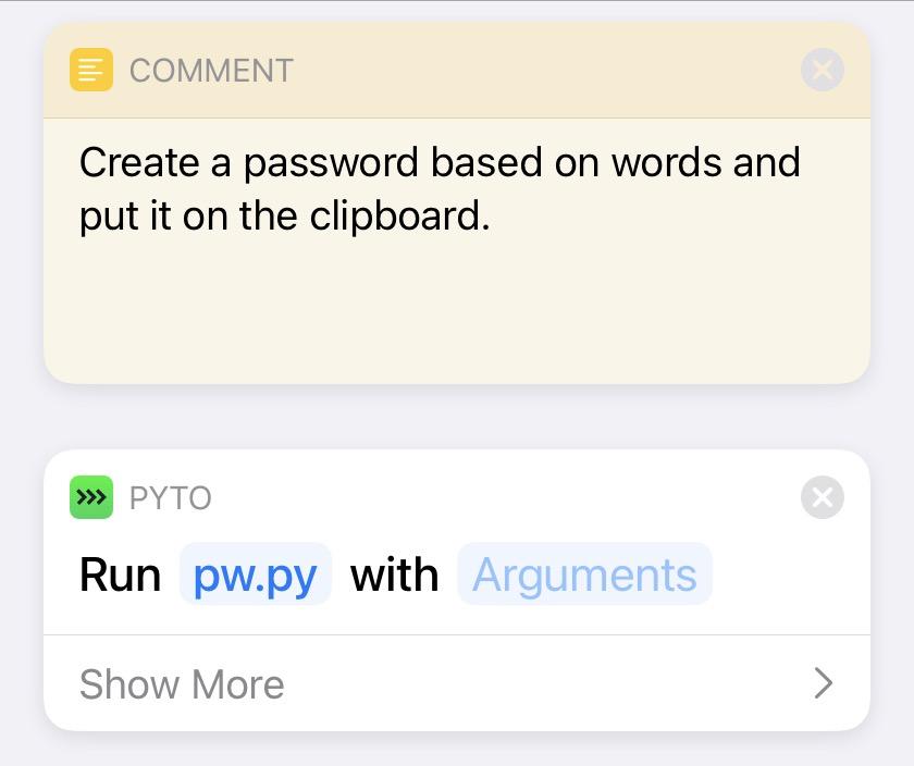 New Password shortcut
