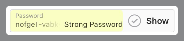 Password field with new strong password
