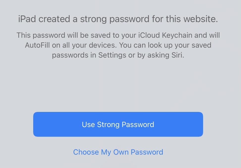 iOS password notice