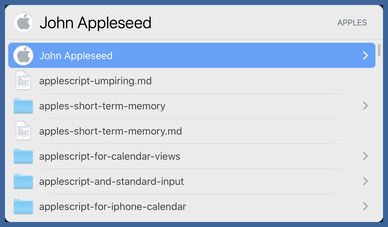 Appleseed in LaunchBar