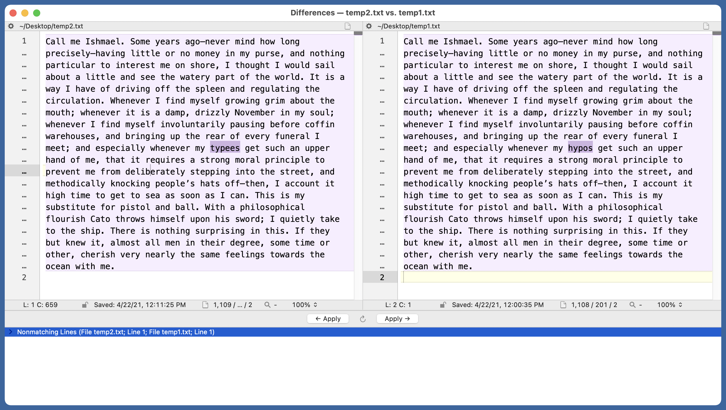 BBEdit differences