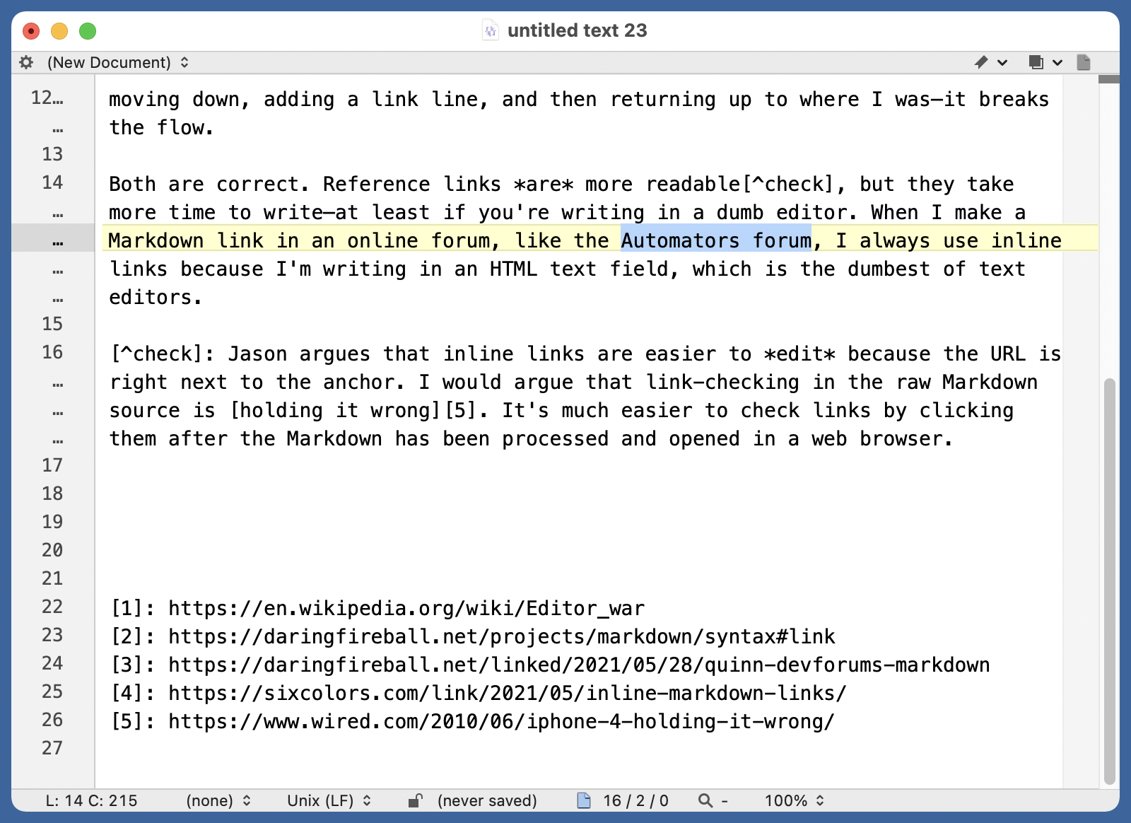 BBEdit with anchor text selected