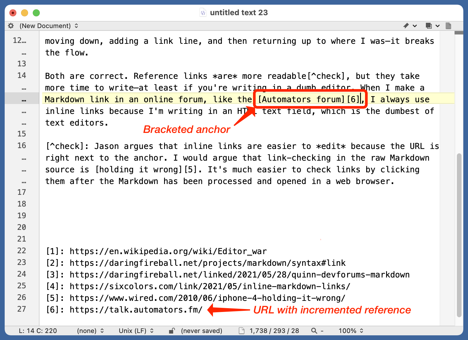 BBEdit with reference link added