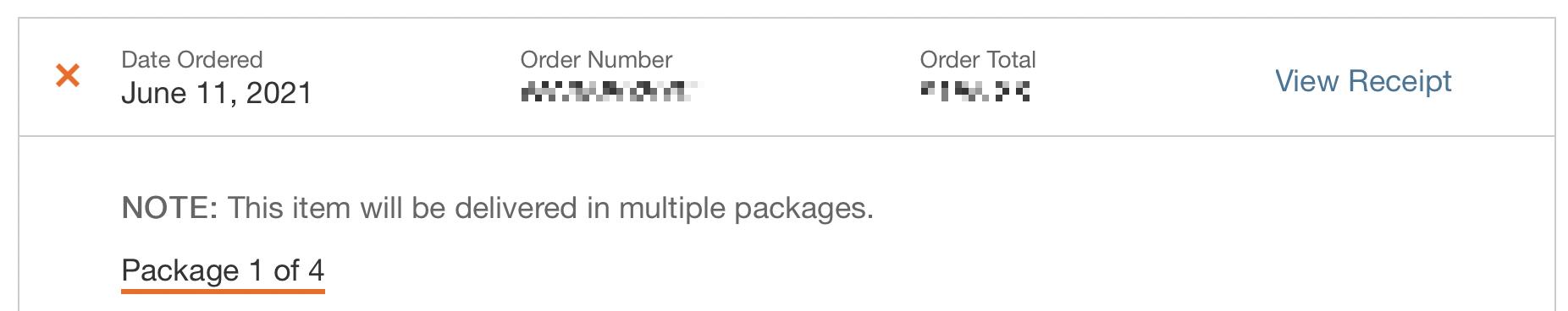 Home Depot order summary